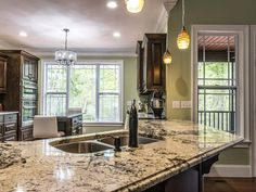 Delicatus white granite kitchen island with undermount double bowl sink and oil rubbed bronze faucet Delicatus White Granite, White Granite Kitchen, White Granite Countertops, White Kitchen Island, Kitchen Countertops, Free Kitchen Design, Kitchen Island Decor, Kitchen Sink, Kitchen Images