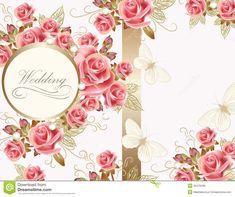 wedding-greeting-card-design-roses-vector-pink-vintage-style-32478438