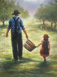 Dads Helper Print - Vickie Wade art, father and daughter, apple orchard, paintings, farmer, daughter, grandpa. $26.00, via Etsy.