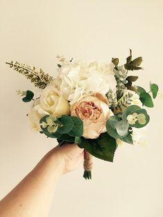 Silk Flower Bridal Bouquet by WildflowerDesignsJH on Etsy