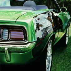 "CHERYL KELLEY, oil on aluminum panel 30 x 24"", Green Hemi Cuda."