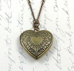 Heart Locket Necklace Vintage Style Locket Victorian Locket Keepsake Necklace Photo Locket Rhinestone Chain  - Esabella. $23.80, via Etsy.