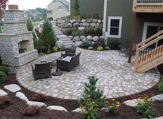 Walkout Basement Patio Deck Stairs Ideas - Home Plans & Blueprints Backyard Patio Designs, Yard Design, Backyard Landscaping, Backyard Ideas, Backyard Seating, Patio Ideas On A Hill, Landscaping Ideas, Stone Patio Designs, Pool Backyard