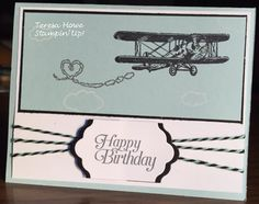 Stampin Up the sky is the limit sale-a-bration stamp set. airplane birthday card