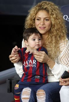 Shakira took her son to watch a football match in Barcelona. He's so cute!