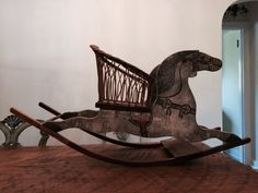 Antique Vintage Rocking Horse with Wicker Seat | eBay