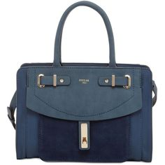 Guess Kingsley Small Satchel (£73) ❤ liked on Polyvore featuring bags, handbags, blue, faux leather satchel, satchel handbags, satchel purses, structured handbags and faux leather purses