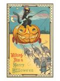 Halloween, Pumpkin Carriage Drawn by Mice Giclee Print