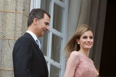 25 July 2014 King Felipe and Queen Letizia visited the Cathedral of Santiago de Compostela on the first anniversary of the train accident in Santiago de Compostela, Spain