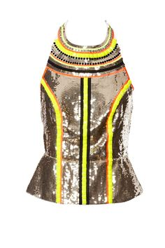 Sass and Bide 2012, A perfect example top, silk/linen, hand beaded and sequinned halter