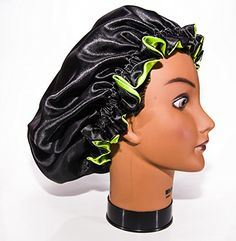 XLarge APPLE GREEN Reversible High Quality Luxuries Pure Satin Hair Bonnet for Women Men Kids  Teens Used for Dry Damaged Colored Safe For All Hair Types  Anti Aging Hair Care *** You can find out more details at the affiliate link of the image.