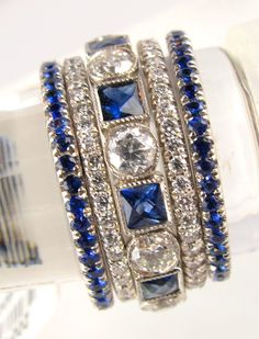 Blue Sapphires and Diamonds Stacking Rings
