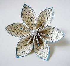I love you Paper Flower- Wedding, bouquet, gift, cake topper, origami, handmade, one of a kind, mothers day, valentines day. $6.00, via Etsy.