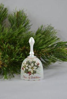 Vintage Lustre glas Christmas Bell ster van Bethlehem kunstenaar ondertekend