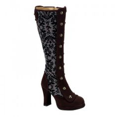 Crypto 301 Brown Microfiber Button Knee Boots with Tweed - Demonia Women's Gothic Boots - Demonia Footwear