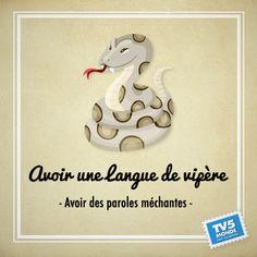"""Avoir une langue de vipère"""" → une personne parle en mal des autres."""