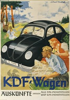 German advertisement for the Volkswagen, produced by the Nazi organisation KdF, 1938 (colour litho)