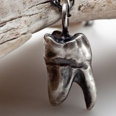 The Molar Tooth - sterling silver pendant necklace - RedSofa jewelry Silver Pendant Necklace, Sterling Silver Necklaces, Dental Jewelry, Molar Tooth, Tooth Necklace, Tooth Jewelry, Gifts For Dentist, Jewelry Accessories, Jewelry Design