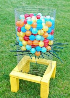 Giant Kerplunk!!! The best summer wedding lawn games to play outdoors