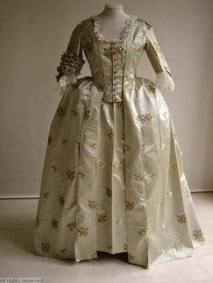 Silk satin robe à la Française, c. 1750-99