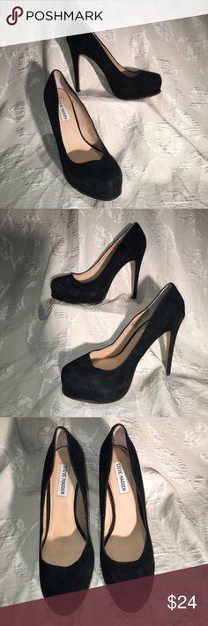 """Steve Madden Black Suede Platform Heels Good condition, heels 5"""", padded interior soles Steve Madden Shoes Platforms"""