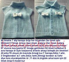 knit baby vest,knit,fiyonklu b Baby Knitting Patterns, Knitting For Kids, Easy Crochet, Crochet Baby, Knit Crochet, Baby Outfits, Baby Pullover, Knitted Baby Clothes, Baby Kind