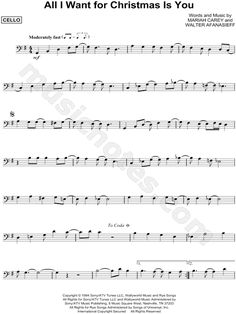 Print and download All I Want for Christmas Is You sheet music by Mariah Carey arranged for Cello. Instrumental Solo in G Major. Trombone Sheet Music, Alto Sax Sheet Music, Cello Music, Music Chords, Cello Noten, Cello Lessons, Ukulele, Trumpet Music, Easy Piano Songs