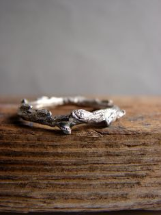 Twig Ring Silver Stacking Ring Woodland Wedding Band by Nafsika, $45.00