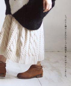 ■■【再入荷♪10月4日22時より】(クリーム)「sanpo」どこにもないニットのスカート(メール便不可)