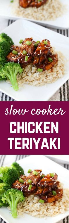 Boneless skinless chicken breasts and homemade teriyaki sauce served over rice or quinoa make this slow cooker chicken teriyaki a perfect weeknight meal. Get the easy slow cooker recipe on RachelCooks.com!