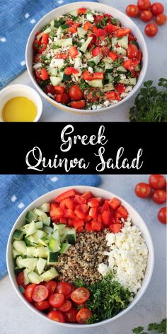 This Greek quinoa salad is a protein-packed, gluten-free recipe that loaded with. - salad recipesThis Greek quinoa salad is a protein-packed, gluten-free recipe that loaded with vegetables. It's a perfect make-ahead salad recipe and it's hearty eno Healthy Salad Recipes, Vegetarian Recipes, Cooking Recipes, Quinoa Recipes Easy, Quoina Recipes, Recipe Using Quinoa, Cooking Cake, Steak Recipes, Kitchen Recipes