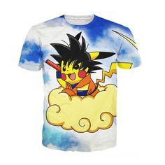 05dd31492941b Summer Style Women Men Gopikachu T-Shirt electric-type Pokemon Pikachu  super saiyan Goku tops vibrant Dragon Ball Z tee shirt
