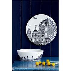 Royal Dolton Charlene Mullen London Calling serving bowl & plate