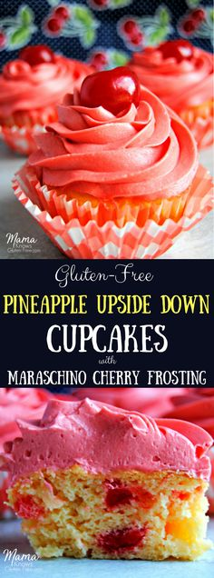 Gluten-Free Pineapple Upside Down Cupcakes with Maraschino Cherry Frosting. The classic flavors of a gluten-free pineapple upside down cake simplified into a cupcake topped with a maraschino cherry buttercream frosting. Gluten Free Cupcakes, Gluten Free Sweets, Yummy Cupcakes, Gluten Free Chocolate, Gluten Free Baking, Cherry Cupcakes, Beer Cupcakes, Cupcake Flavors, Cupcake Recipes
