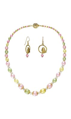 Jewelry Design - Single-Strand Necklace and Earring Set with Czech Fire-Polished Glass Beads, Celestial Crystal® Glass Beads and Gold-Finished ''Pewter'' Drops - Fire Mountain Gems and Beads