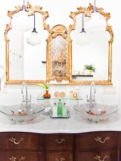 I Can't stop looking at this bathroom!!! Can't believe this is a DIY bathroom!!! Maybe some contractor work in the shower, which is GORGEOUS!!!, but this is an old antique dresser, and LOOK at the mirrors, love all the glass and gold,blingtastic! Brooklyn DIY Designs