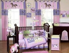 Pink Pony Cowgirl Baby Girl Crib Bedding Set for Newborn Room Sweet JoJo Designs Purple Crib Bedding, Girl Crib Bedding Sets, Girl Cribs, Crib Sets, Nursery Bedding, Baby Cribs, Nursery Room, Comforter Sets, King Comforter