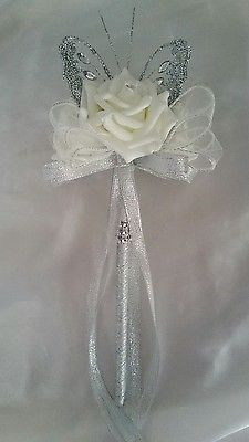 Wedding Flowers Bridesmaids Bouquet Wand Ivory Rose Silver Butterfly Flower Girl