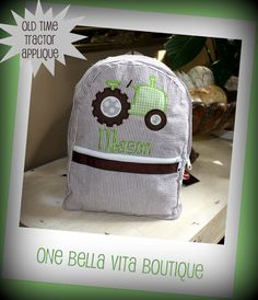 Medium Personalized Seersucker Applique Backpack by OneBellaVita, $35.00