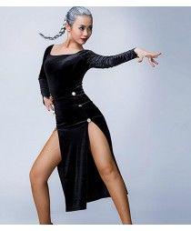 Gold black velvet split sexy fashion competition contest women's ladies fashion sexy latin salsa cha cha dance dresses outfits