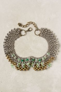 Sparked Agate Collar - Agate, cat's eye, brass, rhodium, glass, moonstone, metal - (Anthropologie.com)