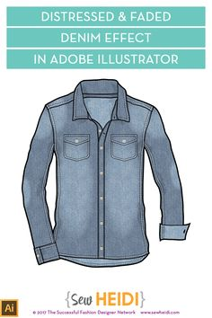 With a few simple tricks, it's easy to add a sandblasted, distressed, or faded look to your denim fashion flat sketches in Illustrator. In this video tutorial, I'll show you step by step how to add these textures and change a few settings so they look realistic on your fashion flat illustration. These tips work great for any denim items – skinny jeans, jean jackets, denim shirts, etc.  First, click the button below to get the free denim shirt flat sketch.