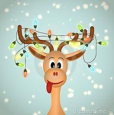 Renne drôle avec des lumières de Noël