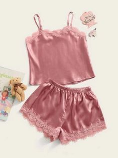 Style: CasualColor: PinkPattern Type: PlainNeckline: Spaghetti StrapType: Pajama SetsDetails: Contrast Lace, ScallopSleeve Length: SleevelessComposition: Polyester, SpandexMaterial: SatinFabric: Fabric has some stretch Cute Pajama Sets, Cute Pjs, Cute Pajamas, Kids Pajamas, Pj Sets, Pajamas Women, Pyjamas, Satin Pj Set, Satin Cami