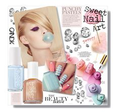 """Sweet AS..."" by clovers-mind ❤ liked on Polyvore featuring beauty, Junk Food Clothing, Essie, Anja, BeautyTrend, nailart, pastels, 2015 and sweetnails"