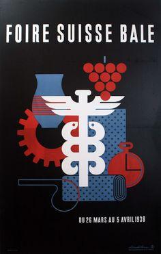 Foire Suisse Bale, 1938 - original vintage poster by Donald Brun listed on AntikBar.co.uk