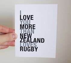 Rugby Sport Greeting Card I Love You More Than by HopSkipJumpPaper, $4.00