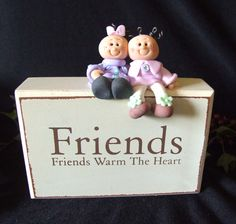 Polymer clay figures on FRIENDS block by Itsybitzy