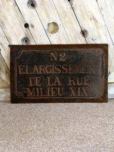French Street Sign - Stock - Woody's Antiques, Decorative Furniture and Objects Industrial Signs, French Street, Antique Signs, Antiques For Sale, Street Signs, Furniture Decor, Steel, Artwork, Objects
