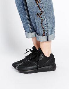 adidas Originals Black Tubular Leather Trainers